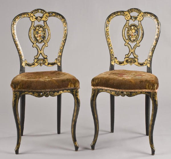23: Pr. Victorian inlaid and gilt ebonized side chairs