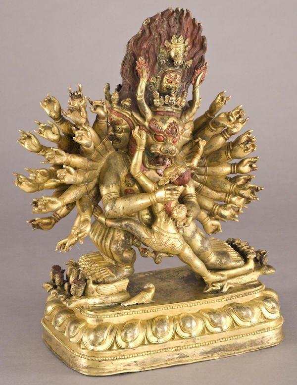 187: Chinese / Tibetan Qing gilt bronze Daweide Jingang