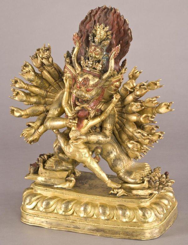 187: Chinese / Tibetan Qing gilt bronze Daweide Jingang - 2