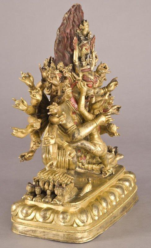 187: Chinese / Tibetan Qing gilt bronze Daweide Jingang - 3