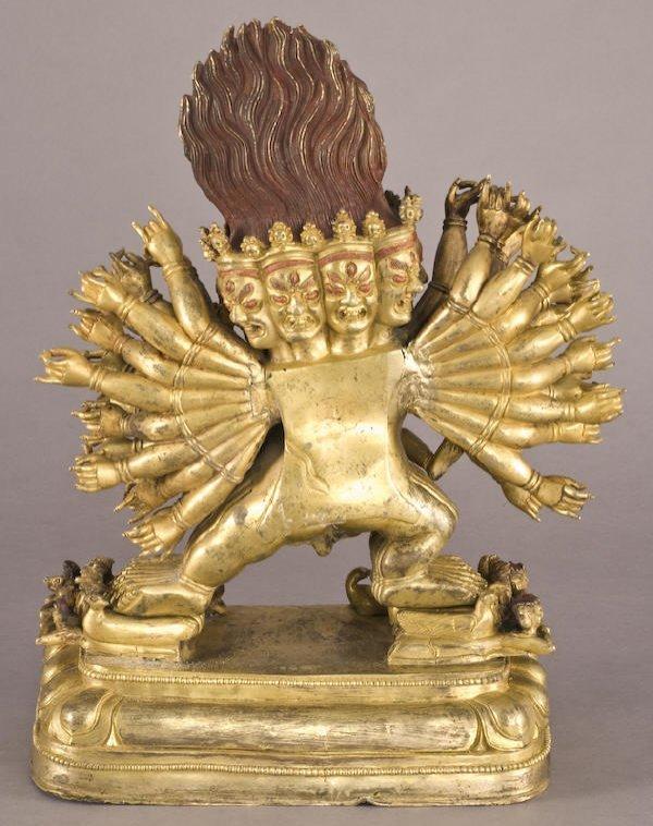 187: Chinese / Tibetan Qing gilt bronze Daweide Jingang - 4