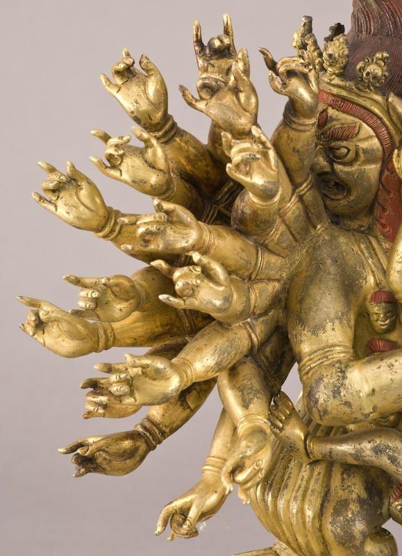 187: Chinese / Tibetan Qing gilt bronze Daweide Jingang - 5