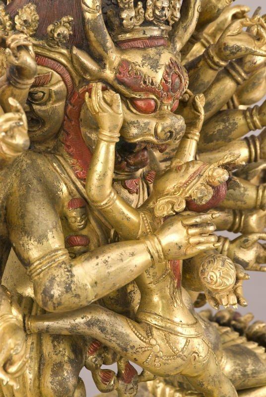 187: Chinese / Tibetan Qing gilt bronze Daweide Jingang - 6