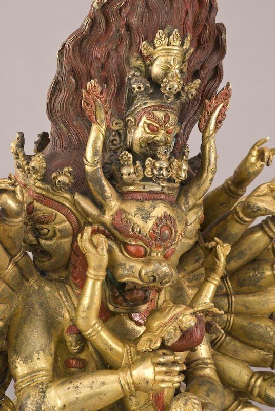 187: Chinese / Tibetan Qing gilt bronze Daweide Jingang - 7