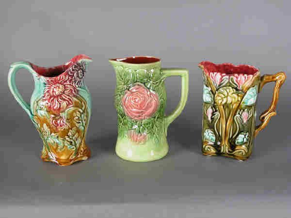 1: (3)pcs. Floral majolica pitchers, French