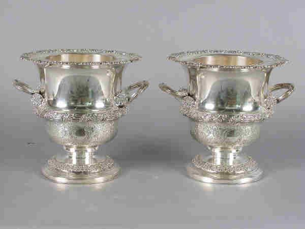 6: Pair of footed silver plate wine coolers