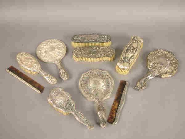 9: (10) pcs. Antique silver dresser sets