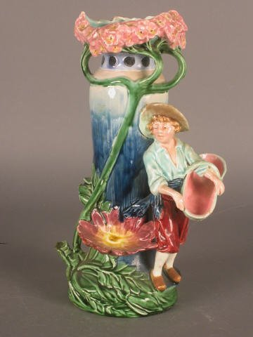 12: Majolica 3-handle floraform vase with