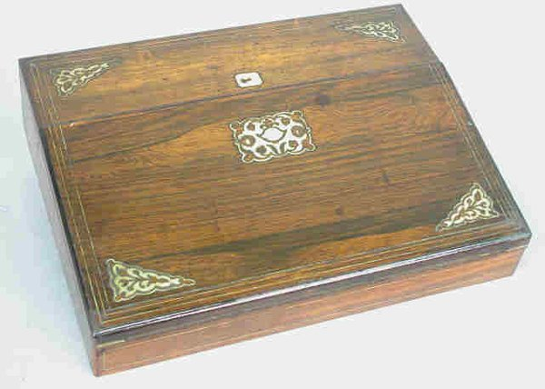 13: Rosewood  lap desk inlaid with mother of