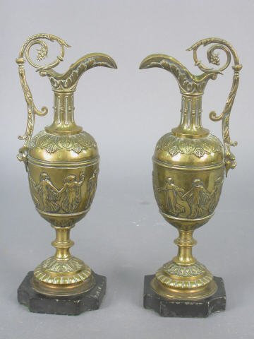 14: (2) pcs Pair of weighted brass ewers