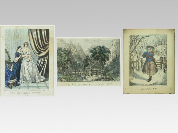 19: (3) pcs. Set of Currier and Ives prints