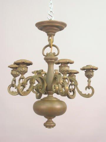21B: Antique 6 arm brass chandelier