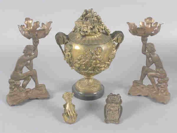 402: (5)pcs. Victorian metal items
