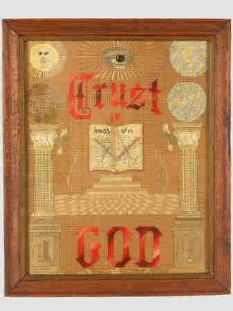 408: Masonic sampler, stitched with silk