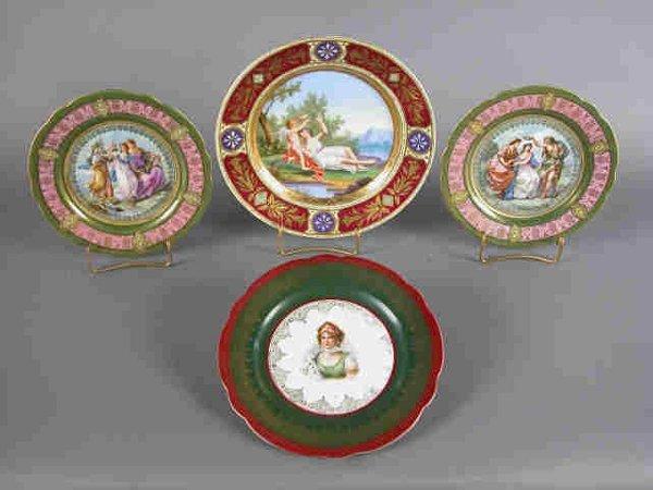 409: (4)pcs Austrian china painted plates.