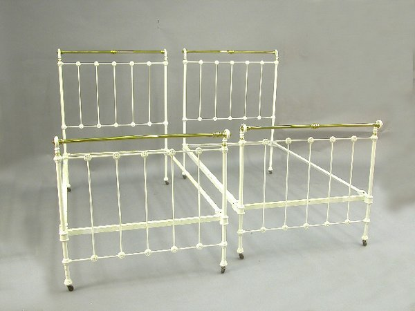 418: Pair iron and brass Victorian beds