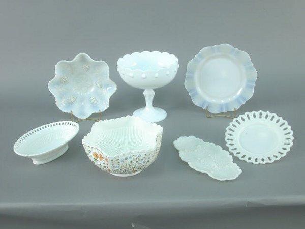 419B: (7)pcs. Milk glass including a rare tre