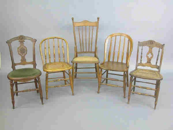 420: (5) American antique side chairs of