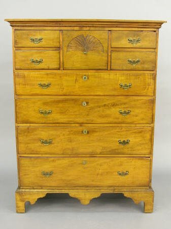 586: New England Chippendale style maple tall