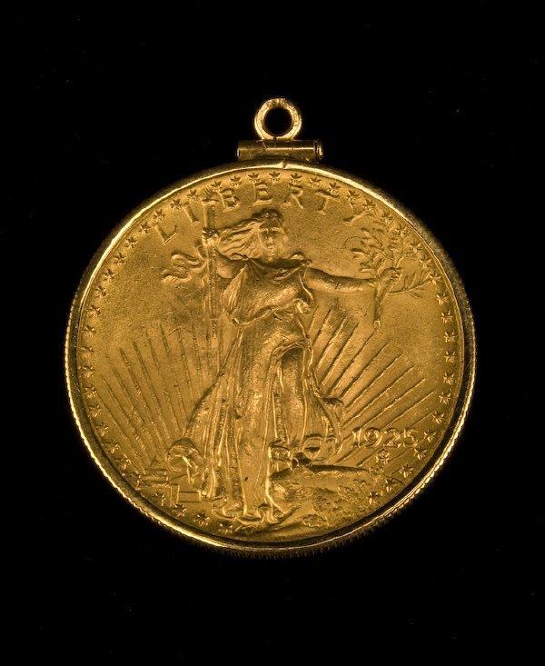 1: 1925 US twenty dollar gold piece pendant