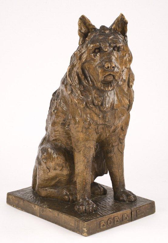 2: Life-size Black Forest carved pine dog