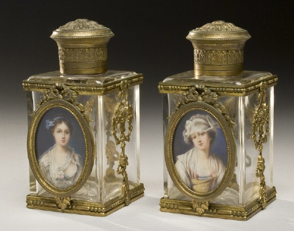 7: Pr. glass perfumers with ivory painted portraits