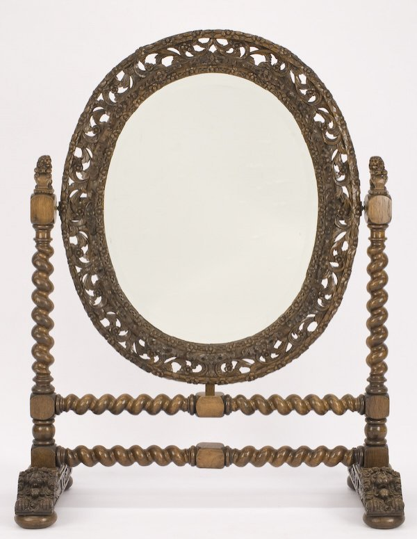 10: Victorian carved oak cheval mirror,