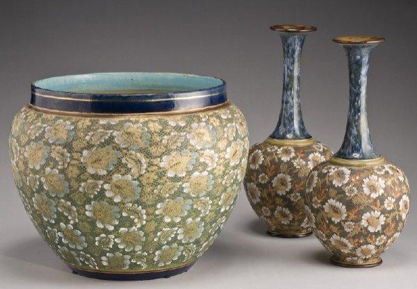 11: 3 Pcs. Royal Doulton's Slater pottery
