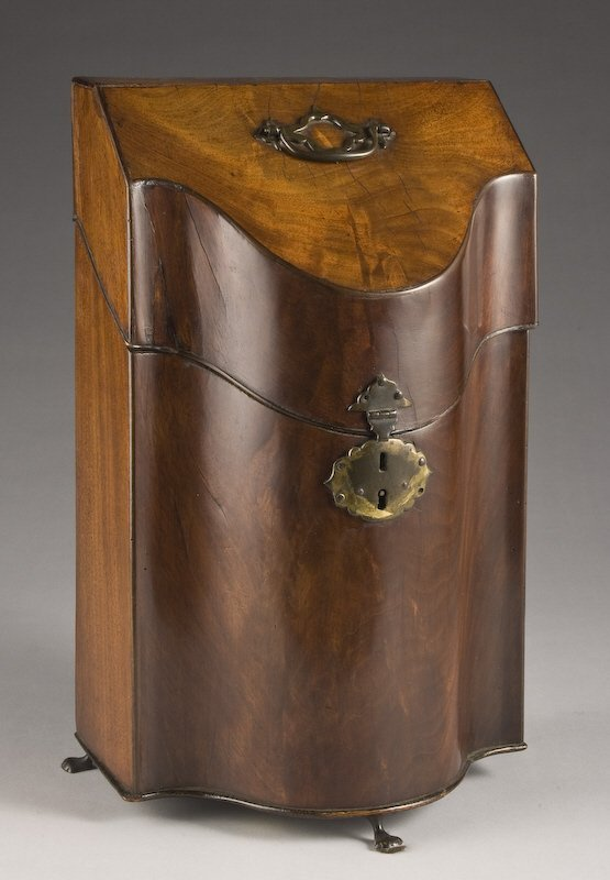 13: Georgian mahogany serpentine knife box,