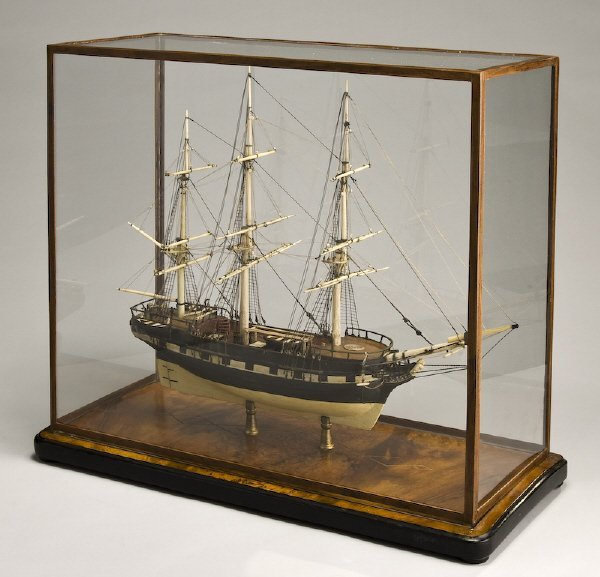 20: 19th C. bone and wood model of a sailing ship,