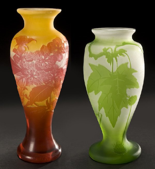 22: (2) French Galle and Muller cameo glass vases,
