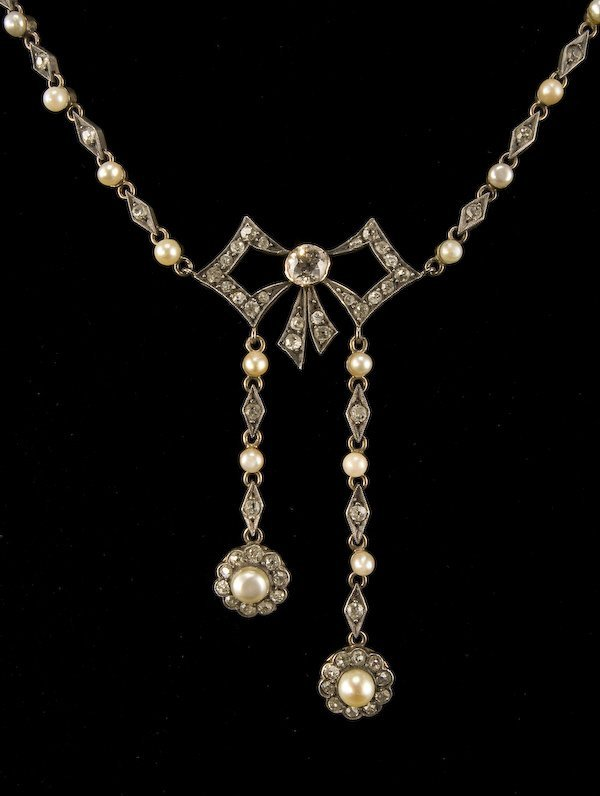 24: Victorian silver over gold diamond, pearl necklace