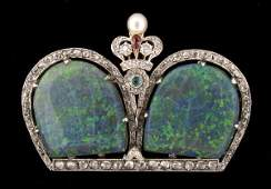107 Edwardian 14K gold diamond and opal brooch