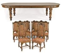 Renaissance Revival Agostino table and (10) chairs