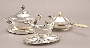 257: 3 Pcs. Christofle and Tiffany silver plate serving