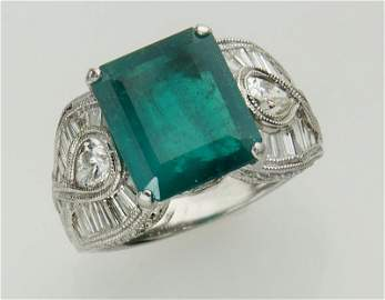 18K White Gold, Diamond & Emerald Ring.