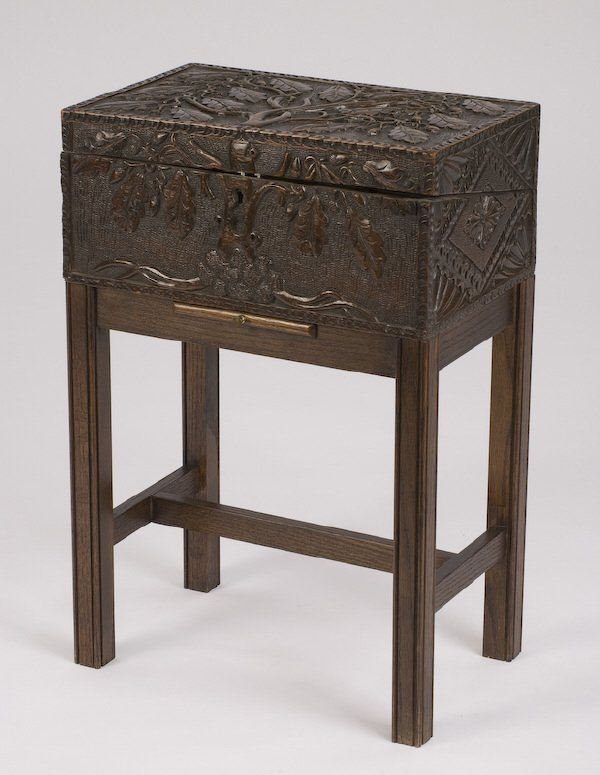 2: English carved lap desk on stand