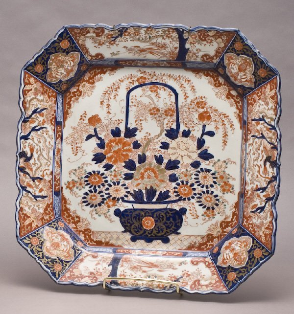 5: Large square Imari charger with central flower