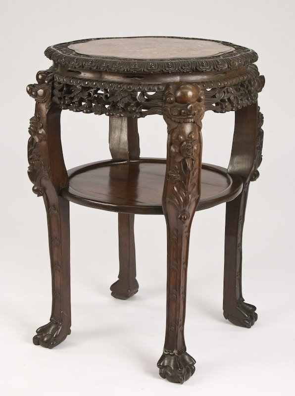 13: Chinese carved rosewood stand with marble top.