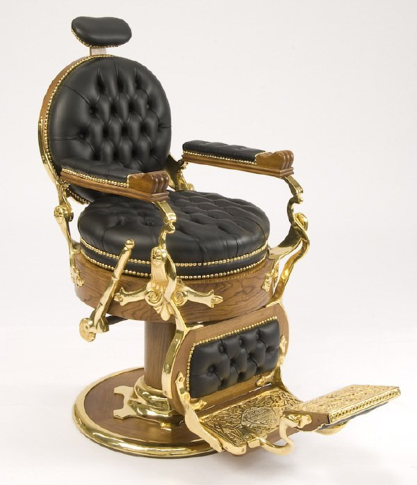 65: Koken cast iron and leather barber's chair
