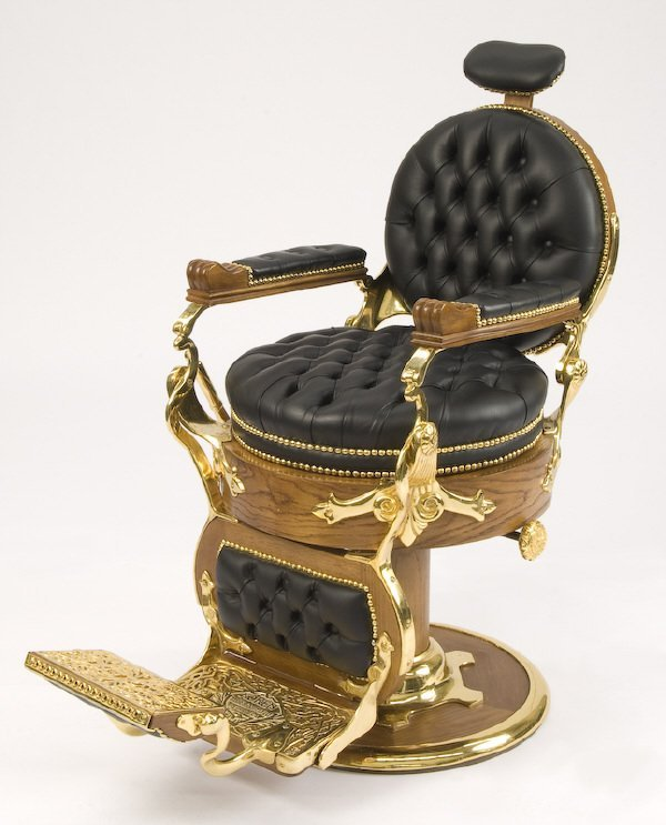 65: Koken cast iron and leather barber's chair - 2