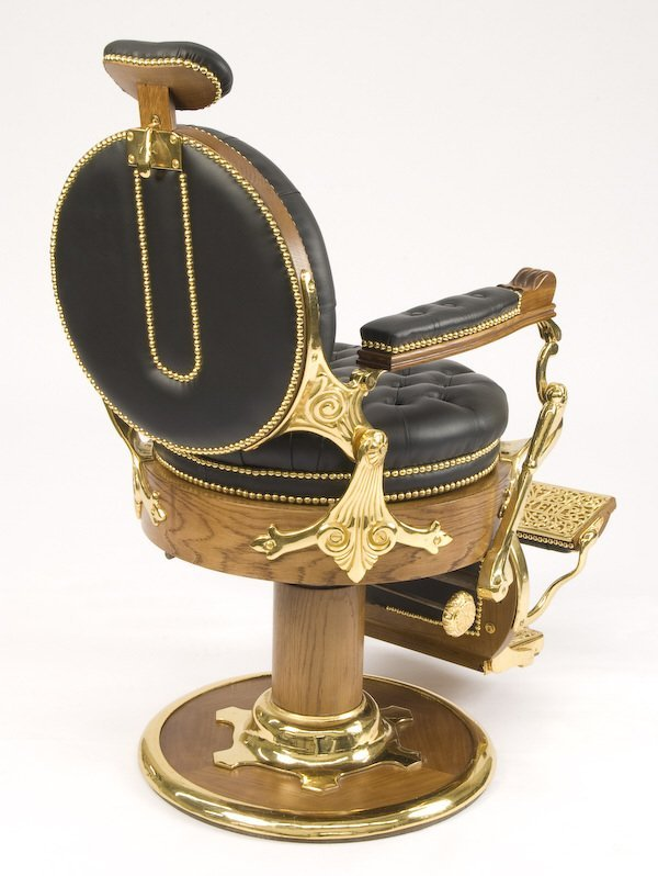 65: Koken cast iron and leather barber's chair - 3