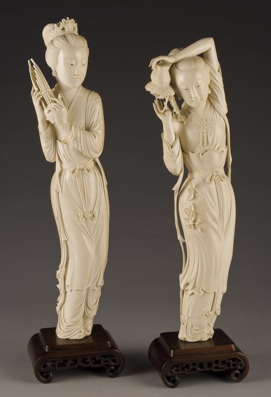 158: (2) Chinese carved ivory ladies