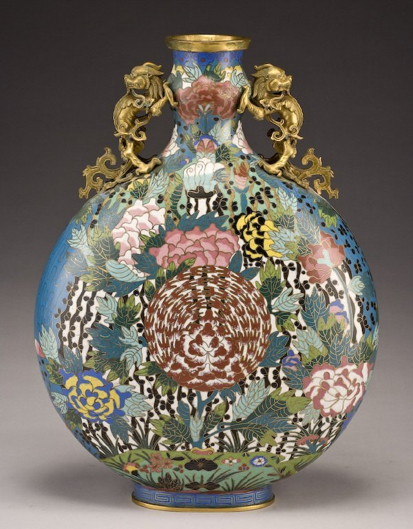 161: Chinese Qing dynasty cloisonne moon flask vase,