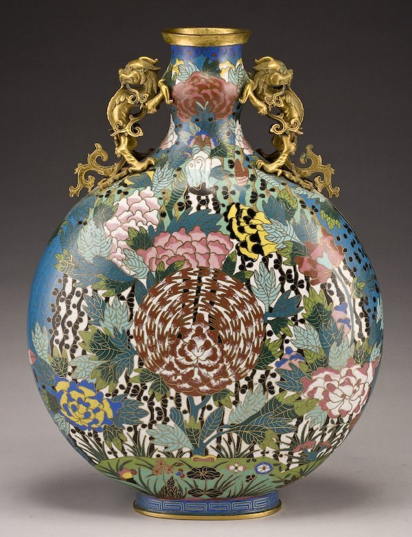 161: Chinese Qing dynasty cloisonne moon flask vase, - 2