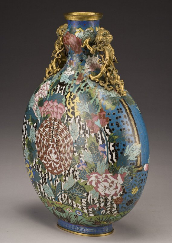 161: Chinese Qing dynasty cloisonne moon flask vase, - 3