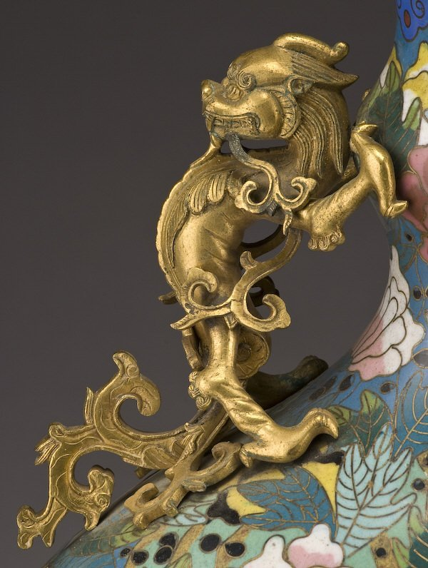 161: Chinese Qing dynasty cloisonne moon flask vase, - 4
