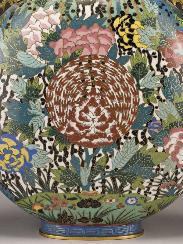 161: Chinese Qing dynasty cloisonne moon flask vase, - 6