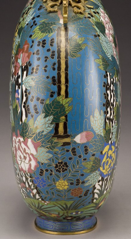 161: Chinese Qing dynasty cloisonne moon flask vase, - 7
