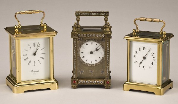 216: (3) Carriage clocks, (1) brass Rapport London,